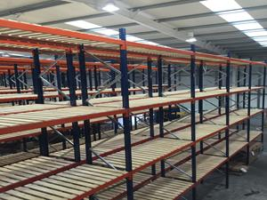 A typical mezzanine floor installation with racking